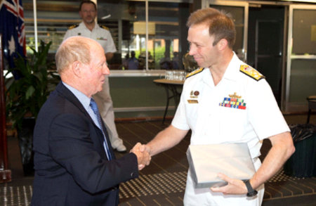Vice Admiral Mike Noonan, RAN Chief of Navy, accepting a copy of Bravo Zulu Volume 2 from Ian Pfennigwerth, November 2018