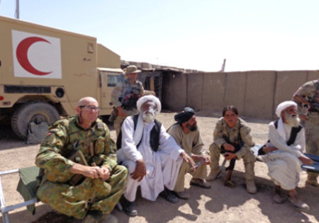 Commander Peter Bartlett RAN negotiating with Afghan officials 2013