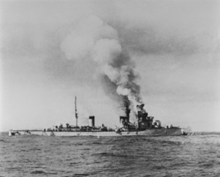 Italian cruiser Bartolomeo Colleoni disabled and sinking after battle with HMAS Sydney, Mediterranean 1940